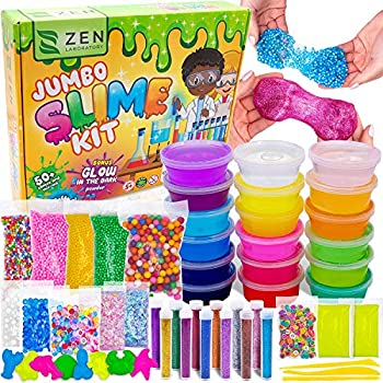 Slime Kit DIY Toy Stocking Stuffer Fidget Gift for Kids Girls Boys Ages 5-12 Glow in Dark Glitter Slime Making Kit - Figit Supplies w Foam Beads Balls 18 Mystery Box Containers filled Crystal Powder