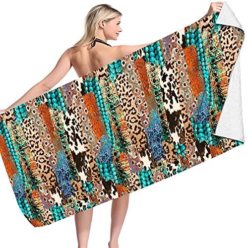 BENBEN Toalla de Playa de Terciopelo de Doble Cara Toalla Cuadrada Estera de Playa Cuadrada Toalla de Microfibra Estampado de Leopardo Estampado 150 * 75cm