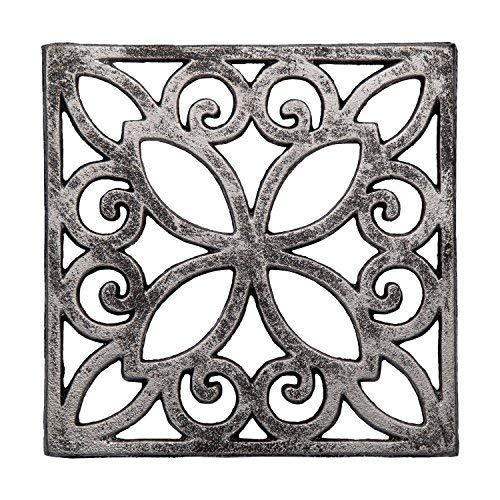 Comfify Dekorativer Gusseiserner Topfuntersetzer für Küche oder Esstisch - Quadratisch mit Vintage-Muster - 16,51 x 16,51cm - Mit Gummi-Füßen - Recyceltes Metall - Vintage, Rustikales Design