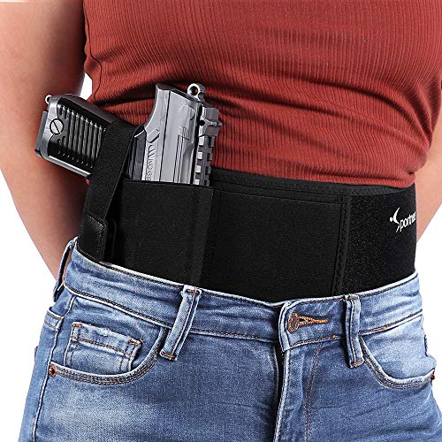 Sportneer Belly Band Gun Holster for Concealed Carry, Upgraded Breathable Neoprene Waistband Holster for Men and Women, Fits Most Size Pistols, Left and Right Hand Draw - with Any Clothing