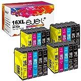 ejet 16XL 16 Cartuccia d'inchiostro Compatibile per Epson 16 XL per Epson Workforce WF-2630 WF-2510 WF-2760 WF-2530 WF-2520 WF-2540 WF-2750 WF-2660 WF-2650 WF-2010 (8 Nero/4 Ciano/4 Magenta/4 Giallo)