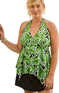 b5213428392 Swimsuits For All Women s Plus Size Flared Tankini Top with Bust Support