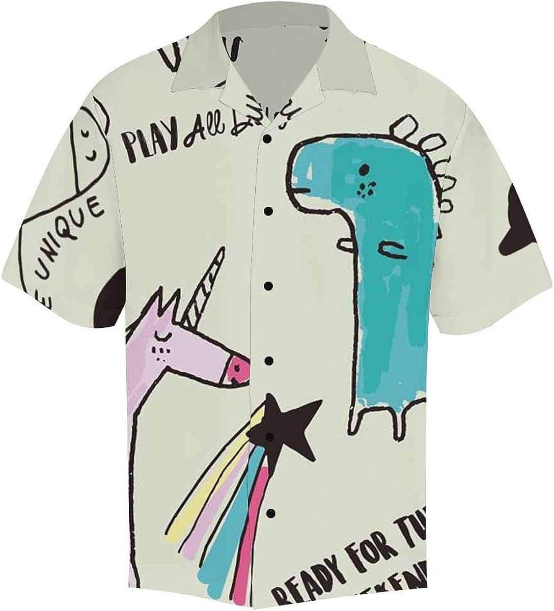 InterestPrint Men's Short Sleeve Hawaiian Shirts with Black Button V-Neck Unicorn Dino and Star