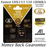 2-Pack 16GB Micro SD Card Plus Adapter. Amplim 16 GB MicroSD Memory Card 100MB/s 667X V10 A1 U1 - Class 10 UHS-I 16G MicroSDHC TF Card for Cell Phones, Fire, Dashcam Camera, GoPro, DJI, Nintendo