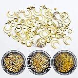 Clavo estrella Luna joyería Mix Set metal cobre redondo espárragos lentejuelas clavo diamante joyería, 5 cajas (oro y plata)