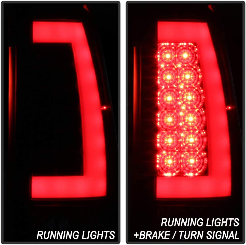 For 2003 2004 2005 2006 Chevy Silverado 1500 2500 3500 Red LED Tail Lights w//LED Tube Brake Lamps Left+Right ACANII