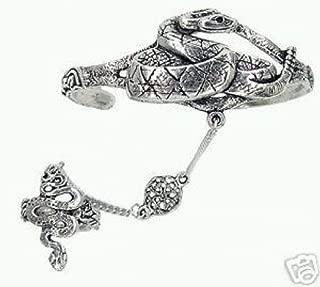 Melonie Home Celtic Snake Slave Bracelet & Ring - Lead Free Pewter - Adjustable SCA Garb