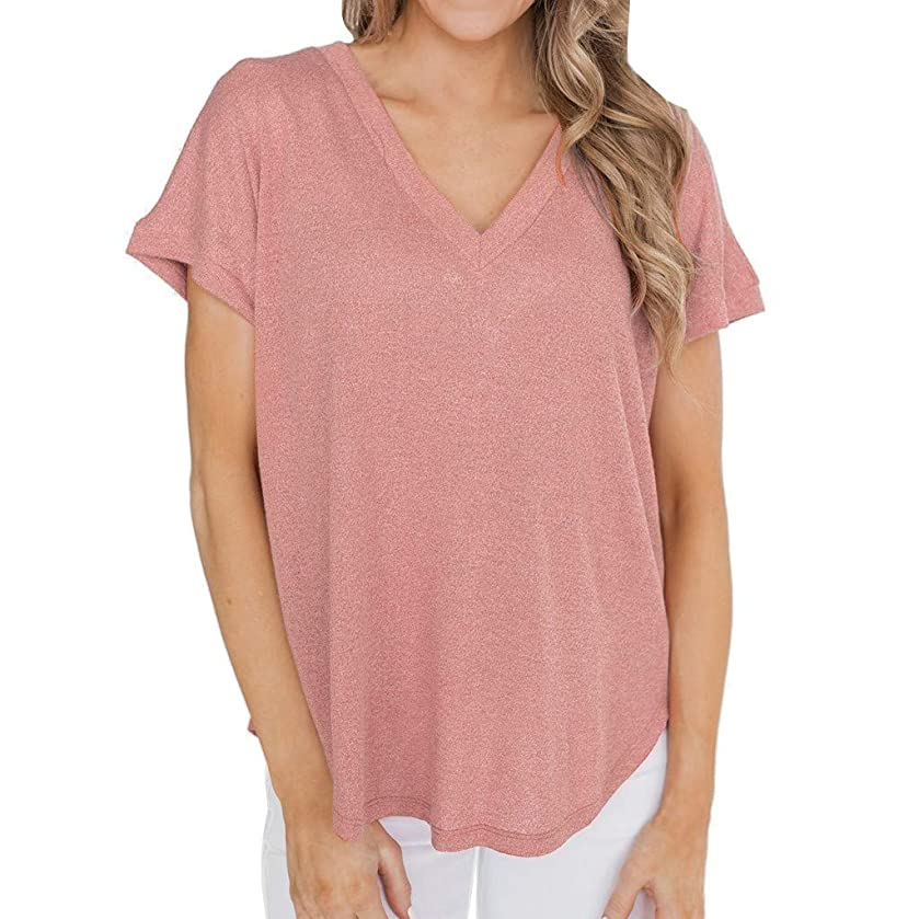 hositor Short Sleeve Shirts for Women, Sexy Womens Short Sleeve Holiday O-Neck Casual Blouse Pure Color T-Shirt Tops