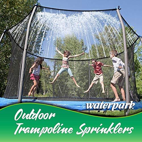 Tesmotor Trampolin-Sprinkler, Outdoor-Wasserpark-Sprinkler für Kinder Sommerspaß, Außenwasserspielzeug am Trampolin-Sicherheitsnetzgehäuse befestigt (39ft)