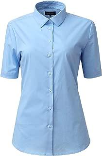 HORSE SECRET Womens Dress Shirts, Basic Short Sleeve Slim Fit Casual Button Up Shirt Stretch Formal Shirts Blouses