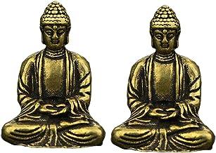 F Fityle 2 Pcs Sakyamuni Buddha Meditation Statues Mini Sculpture Vintage Style Home Decor Ornament Gift 1.18inch Tall