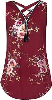 Sleeveless Tank Tops 2019, Liraly Ladies Loose Cross Back Hem Layed Zipper V-Neck T Shirts