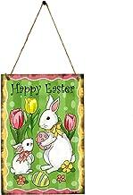 Amosfun Vrolijke Pasen hangen houten borden Pasen geschenk Pasen party decoratie Pasen konijn patroon hangen plank met moo...