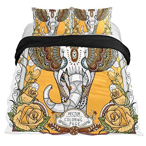 COOSUN Prachtige olifant kleurplaat Dekbedovertrek Set, 3 Stuk - Microfiber Comforter Quilt Bedding Cover met Ritssluiting, Banden, Decoratieve Beddengoed Sets met Kussen Shams voor Mannen Vrouwen Jongens Meisjes Kids Tieners