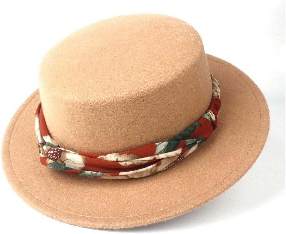 LIRRUI Men Women Fashion Flat Top Hat with Ribbon Winter Wide Brim Fedora Hat Pork Pie Party Hat Wool Size 56-58CM (Color : Khaki, Size : 56-58)