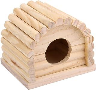 【ノーブランド品】ペット用品 ハムスター マウス スナネズミ用 木製 ハウス ケージ 飼育 取り外し可能