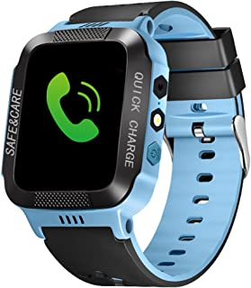 Bluetooth Smartwatch Touch Screen Wrist Watch with Camera/SIM Waterproof Phone Smart Watch Sports Fitness Tracker Girls Boys Smart Watches with Children's Smart Wrist Kids Gifts Learnin (Black Blue)