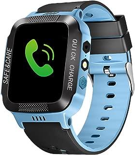 Bluetooth Smartwatch Touch Screen Wrist Watch with Camera/SIM Waterproof Phone Smart Watch Sports Fitness Tracker Girls Boys Smart Watches with Children's Smart Wrist Kids Gifts Learnin (Black Blue)