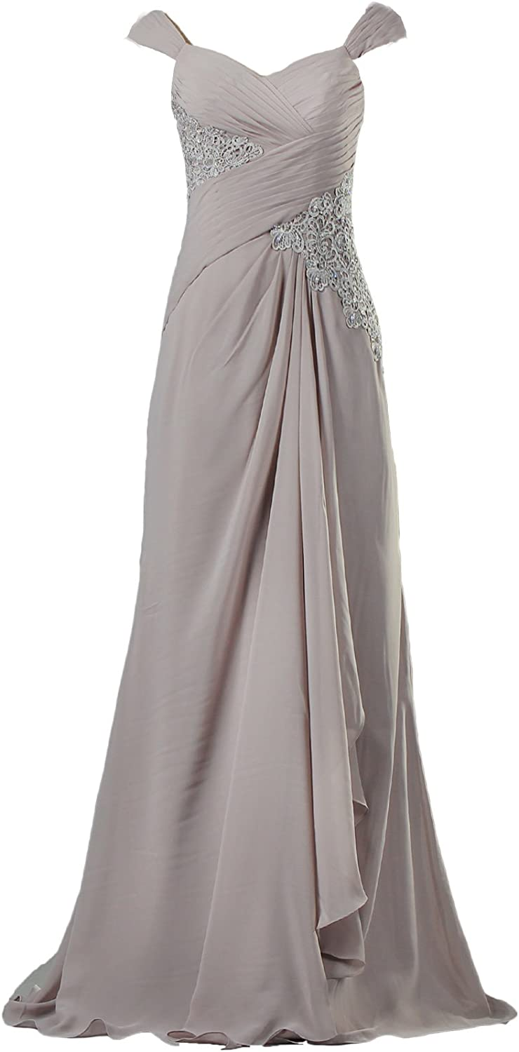 ANTS Women's Vintage Chiffon Cap Dresses Evening Max 70% OFF Gow Sleeve Max 55% OFF Long