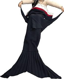"""Hughapy Knitted Mermaid Tail Blanket for Kids Crochet Snuggle Mermaid,All Seasons Seatail Sleeping Bag Blanket (56""""x28"""", Dark Grey Shark)"""