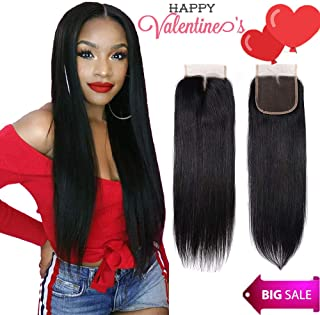 Brazilian Virgin Human Hair Closure Straight 4x4 Lace Closure Middle Part 130% Density Hand-made Human Hair Lace closure Natural Black Color (20 Inch, 4x4 Middle Part)