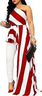 Women's Stripe Print One Shoulder Ruffle High Low Irregular Long Blouse Tops Shirt Dress Maxi Dress