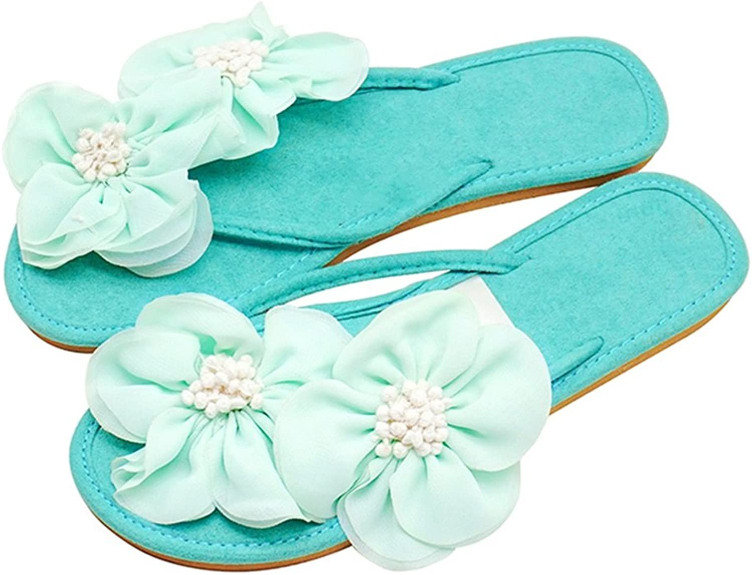 Women's Sandals Thong Sandal Flip Flops Slip-On Sandal for Ladies Woman Girls Leisure Thongs Clip Toe Flat Heel Slipper in Summer for Beach Seaside Suede shoes Bright with Flowers Open Toe Buckle Sand