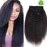 Topuhair Yaki Clips Tissage Cheveux Femme Noir 1B Cheveux Kinky Curly Clips 8Pcs/Set...