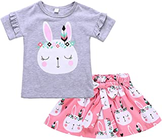 Toddler Baby Girls Dress Kid Baby Girl Easter Skirt Outfit Set Baby Rabbit Bodysuits + Bunny Skirt Clothes Set