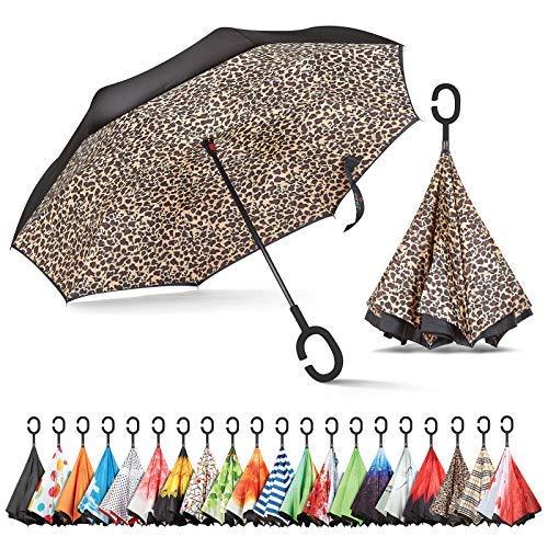 sharpty seitenverkehrt Regenschirm, Regenschirm Winddicht, Rückseite Regenschirm, Regenschirme für Frauen mit UV-Schutz, umgedreht Regenschirm mit C-förmigem Henkel, leopard