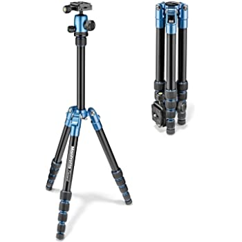 "Manfrotto Element Traveller Small Aluminum 5-Section Tripod Kit with Ball Head, Element Small 56.3"", Blue"