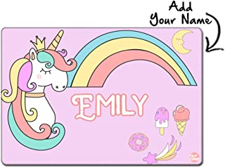 """Nutcase Personalized Poly Premium Fabric Cloth with Reversible Print Dinner Table Mats/Place Mats- 16"""" X 12"""" - Magical Unicorn Rainbows"""