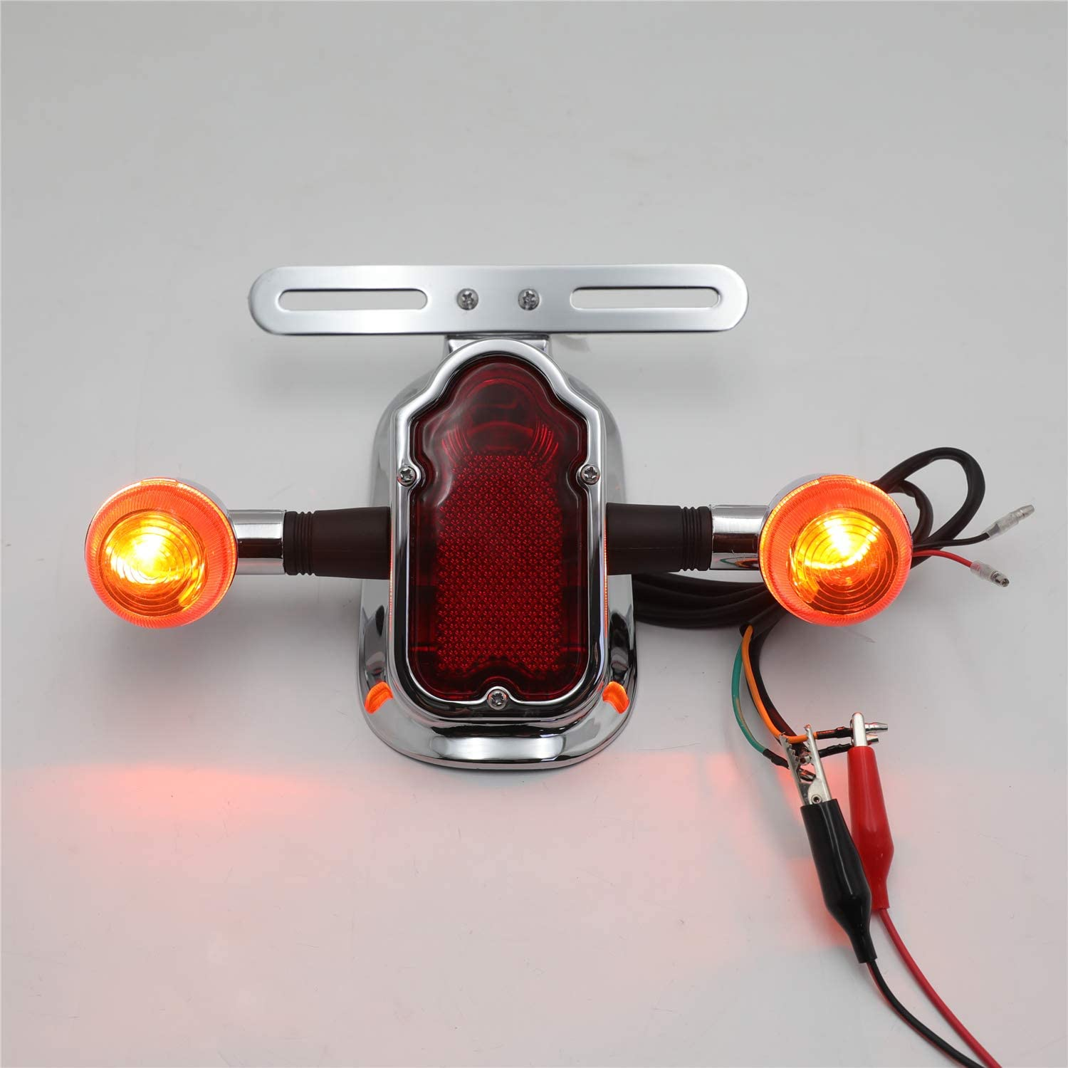 XKMT-MOTORPARTS Cheap SALE Start Free Shipping Cheap Bargain Gift Motorcycle Chrome Amber Metal Tombstone Brake T