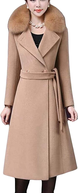 Women Pea Coat Plain Winter Long Thicken Woollen Blend Faux Fur Collar Overcoat,Camel,Medium