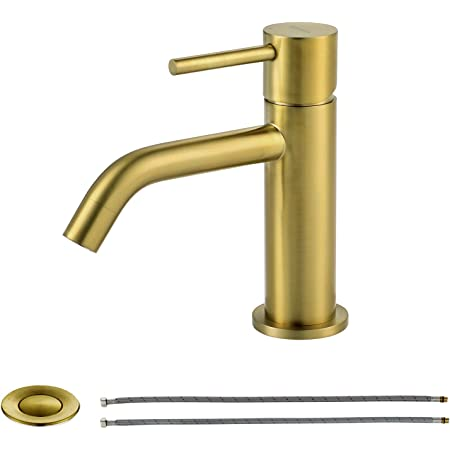 Yadianna Basin Mixer Tap Wall-Mounted Concealed Bathroom Sink Faucet Brushed Retro Brass Antiquefaucet Golden Widespread Wall Mounted Beautiful Practical