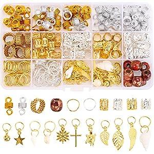 Tecbeauty 236 Pieces Hair Jewelry for Women Braids Rings Cuffs Clips Aluminum Beads Dreadlock Accessories