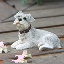 LINrxl Germany Schnauzer Dog Sculpture Statue Simulation Animal Figurine Model Resin Crafts Dog Ornaments Decorated Home Decors Resin Ornaments in Home (Color : B)