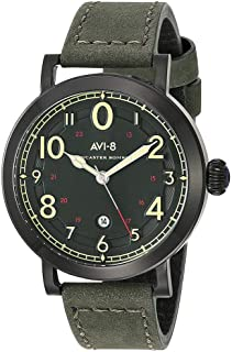 Men's 44mm Green Leather Band Steel Case Quartz Analog Watch AV-4067-03