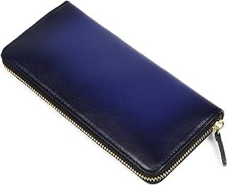 (ラファエロ) Raffaello 一流の革職人が作る スフマート製法で染色したメンズラウンドファスナー長財布