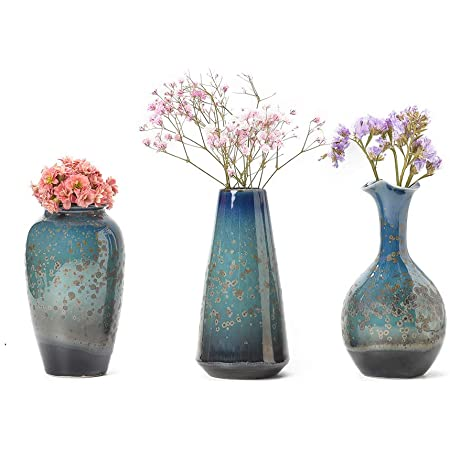 Ceramic Flower Vases Set Of 3 Special Design Style Of Flambed Glazed Decorative Modern Floral Vase For Home Decor Living Room Centerpieces And Events Kitchen Dining