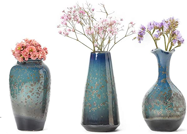 CHP Ceramic Flower Vase Set Of 3 Special Design Style Of Flambed Glazed Decorative Modern Floral Vase For Home Decor Living Room Centerpieces And Events