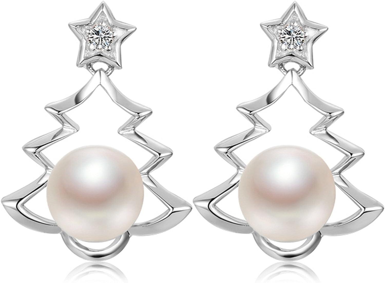 Epinki 925 Sterling Silver Women Earrings Christmas Tree Star Earrings Ladies Elegant Earrings with Pearl