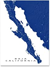 Baja California Peninsula Map Print, Mexico, Landscape Art, Cabo San Lucas
