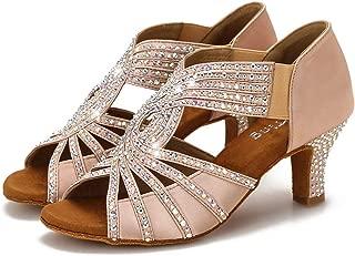 Swarovski Rhinestones Ballroom Dance Shoes Women Latin Salsa Practice Wedding Indoor Shoes 2.5in Heels YT06
