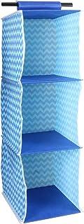 Amazon Brand - Solimo Printed Fabric Hanging Closet Organiser, 3 Shelves, Yellow