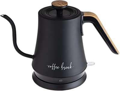 Cook with Color Electric Gooseneck Water Kettle, High Grade Stainless Steel, 1 Liter, Quick Boil Electric Kettle with 360 Degree Swivel Base, 1000 Watt Boiling Power (Matte Black)