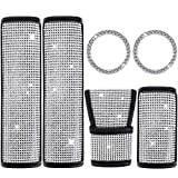 6 Pieces Bling Rhinestone Car Accessories Crystal, Shift Gear Cover, Auto Handbrake Cover, 2 Pieces Seat Strap Belt Shoulder Pads, 2 Pieces Ring Emblem Stickers for Women Girls Car Decoration