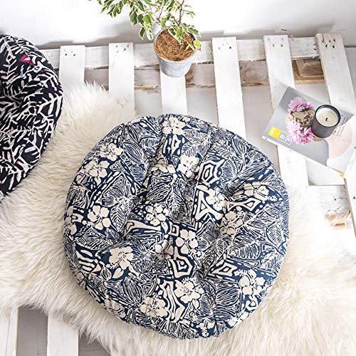 GE&YOBBY Large Round Floor Cushion,Floral Tatami Thick Seat Cushion,Vintage American Washable Seat Pad for Office Tatami Bay Window Swing Chair G 55cm in Diameter