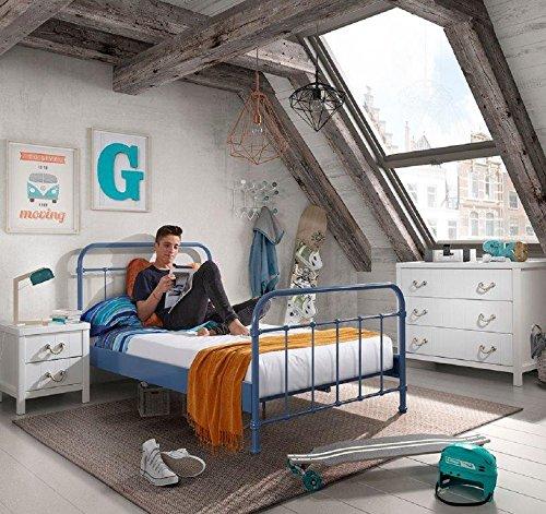 Dreams4Home Metallbett \'Difo VI\' - Jugendbett, Kinderbett, Einzelbett, Singlebett, Maße: (B/H/T) 129 x 111 x 210 cm, Kinderzimmer, Jugendzimmer, Schlafzimmer, Gästezimmer, modern, 1 Lattenrost, Rohrrahmen, Pulverbeschichtet, in blau
