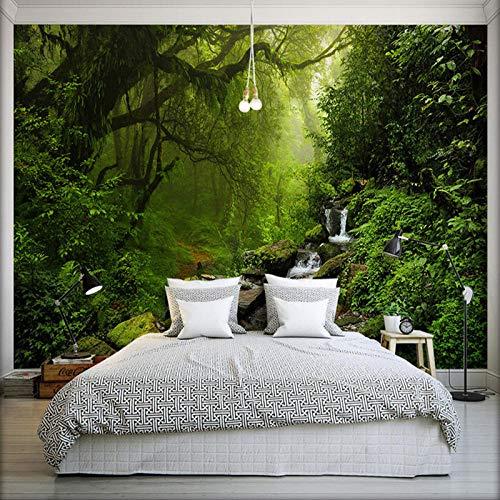 PatTheHook Wandbild,Custom 3D Großes Wandbild Grünen Wald Stream Landschaft Moderne Fernseher Sofa Malerei Hintergrund Wohnzimmer Home Decor